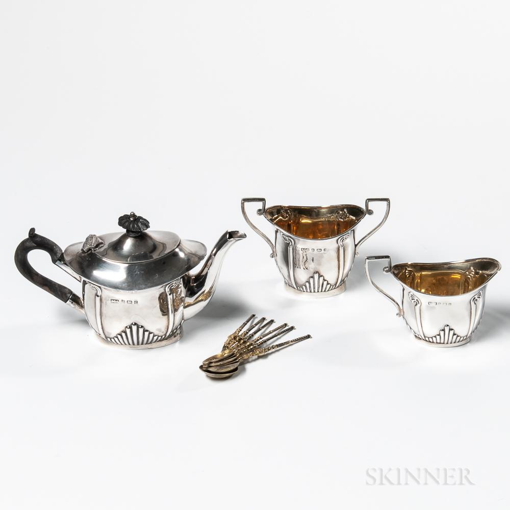 Edward VII Three-piece Sterling Silver Tea Service