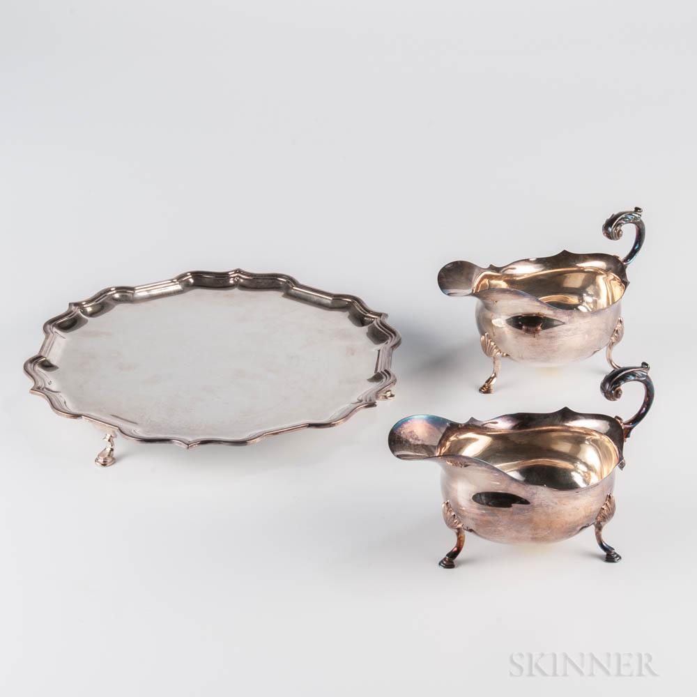 Three Pieces of Elizabeth II Sterling Silver Tableware