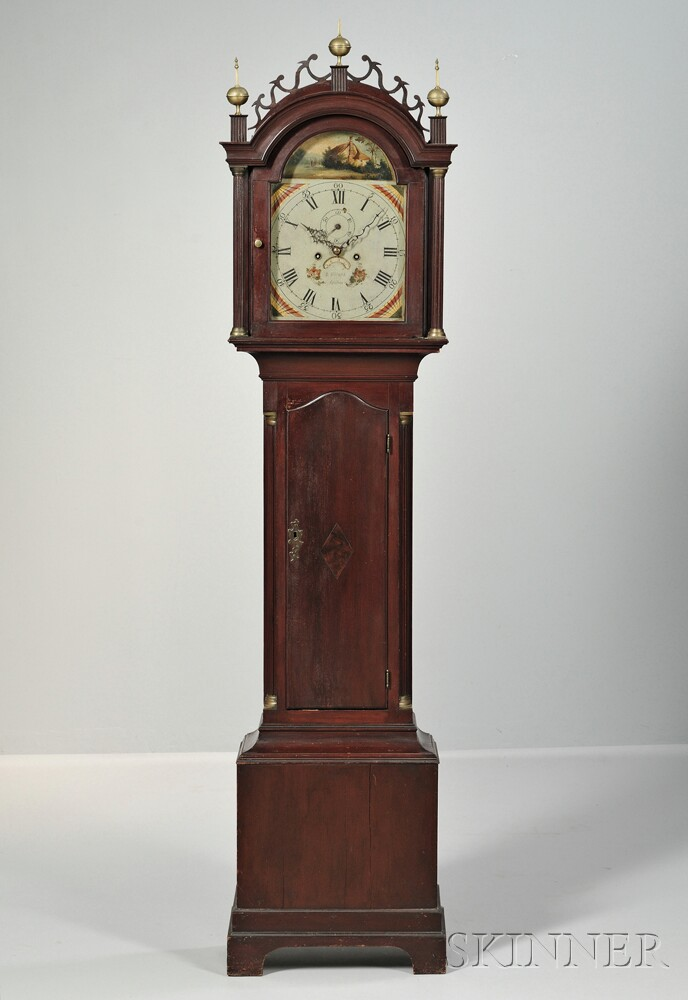Red-stained Inlaid Cherry Tall Case Clock