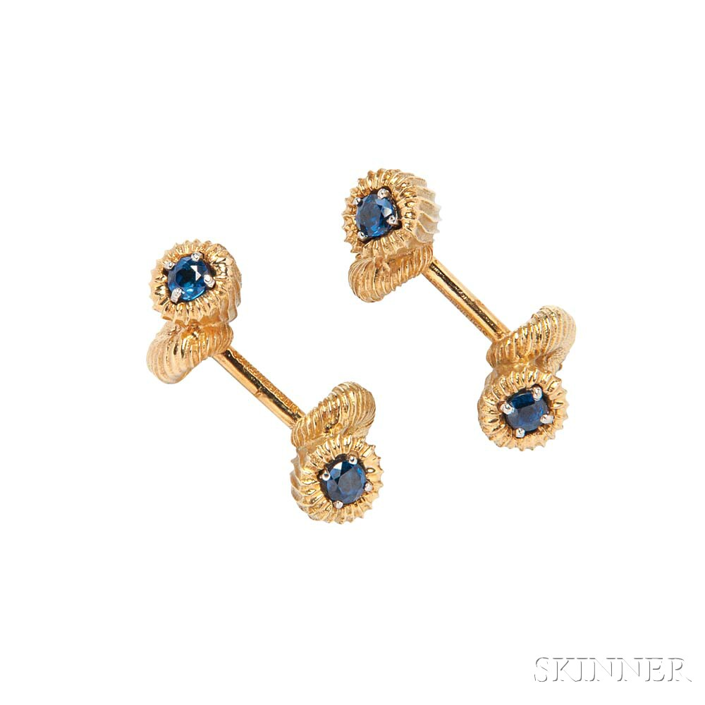 18kt Gold and Sapphire Cuff Links, Schlumberger, Tiffany & Co.