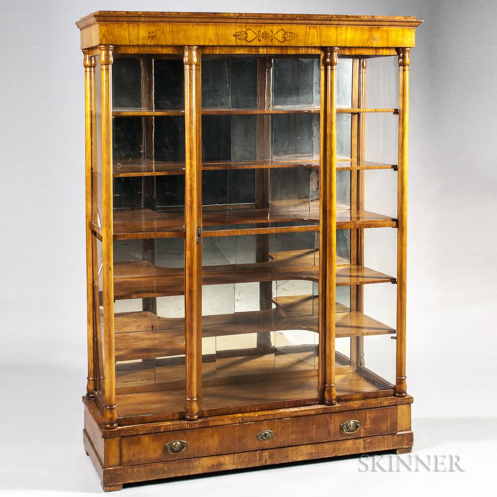 Fruitwood-veneered Biedermeier Display Cabinet