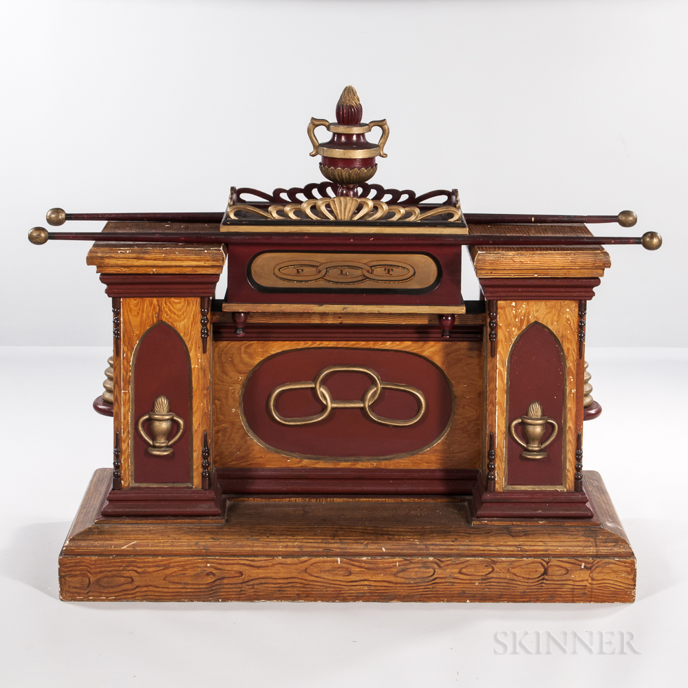 Grain-painted Daughters of Rebekah Beehive Altar with Painted Ark of the Covenant and Altar Flame Finial