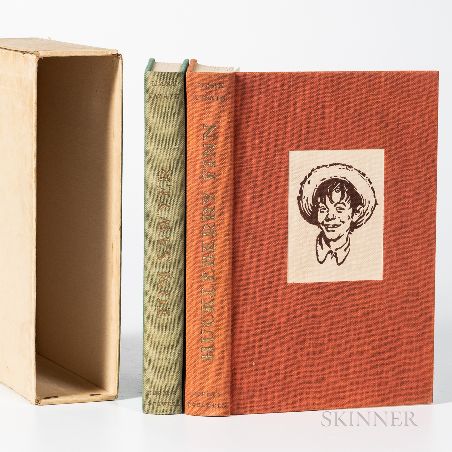 Twain, Mark (1835-1910) and Norman Rockwell (1894-1978) Illustrator Tom Sawyer   and The Adventures of Huckleberry Finn