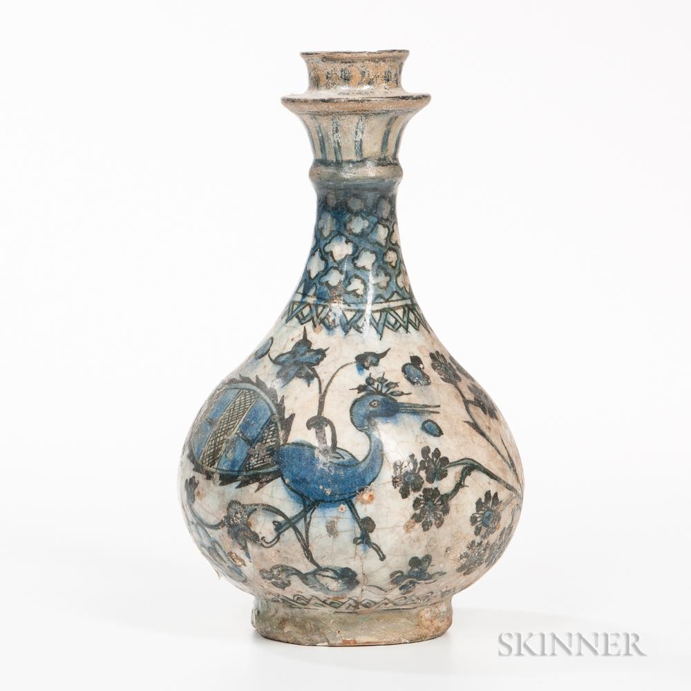 Blue and White Fritware Bottle Vase