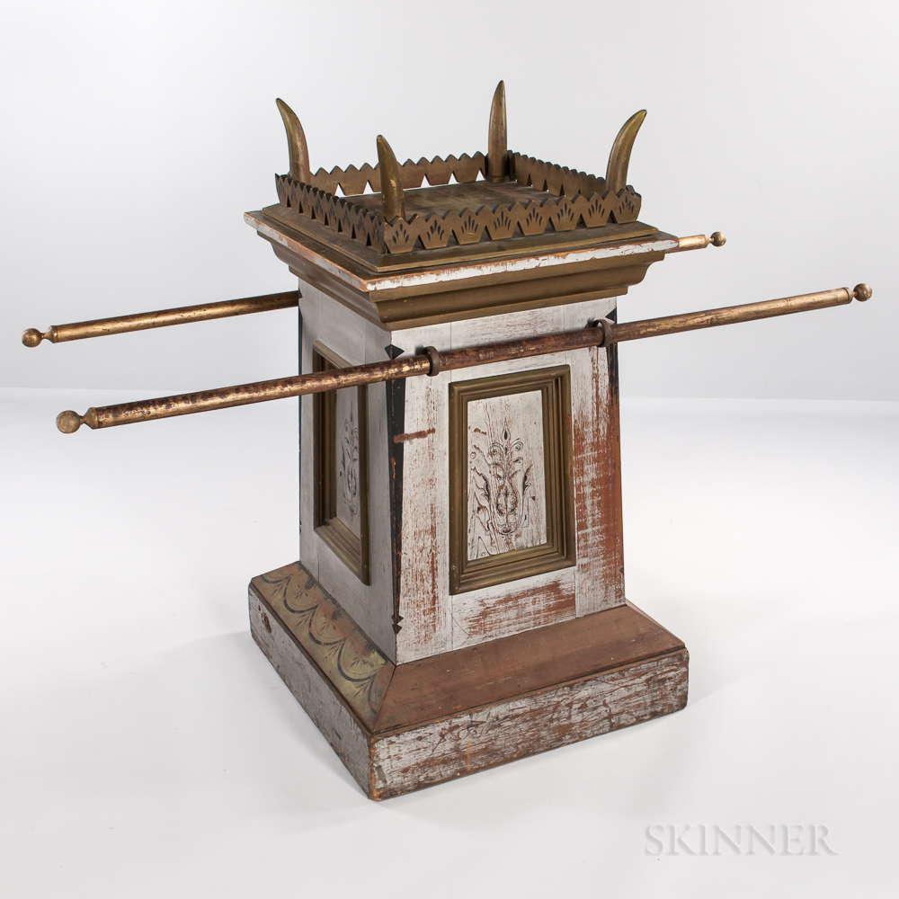 Gray- and Gold-painted Odd Fellows Altar with Carrying Poles