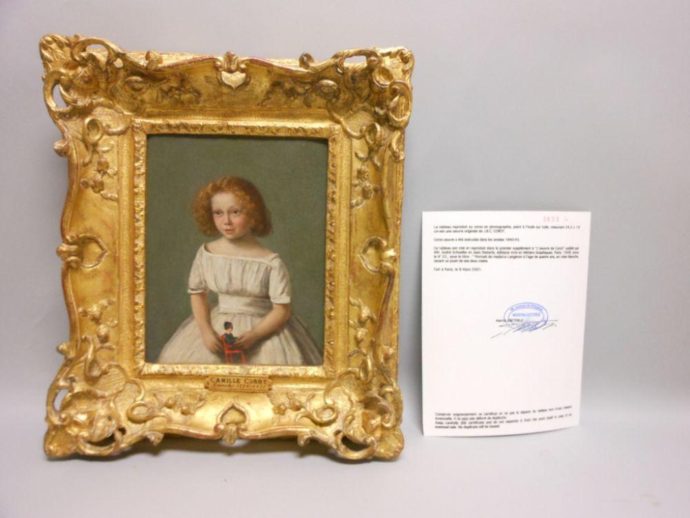 Jean-Baptiste-Camille Corot (French, 1796-1875), Portrait de Madame Langeron à 4 ans, en robe blanche, tenant un jouet de ses deux main