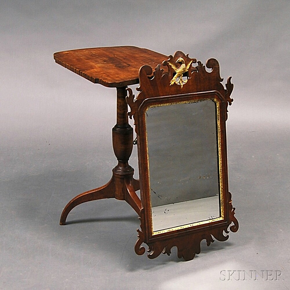 Federal Tiger Maple Tilt-top Candlestand and a Walnut Parcel-gilt Mirror
