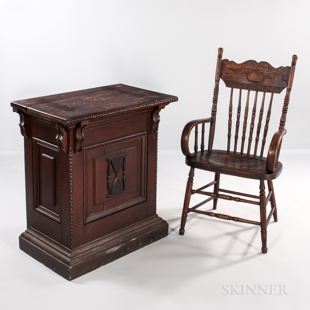 Oak Odd Fellow Desk with Hour Glass Decoration and a Pressed-back Armchair