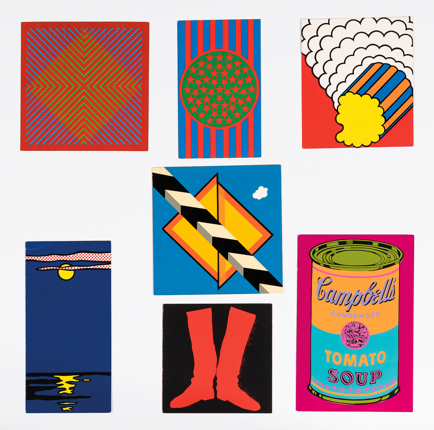 After Various Artists: Seven Greeting Cards from Banner: Richard Anuszkiewicz (American, 1930-2020), Untitled; Allan DArcangelo (Ameri