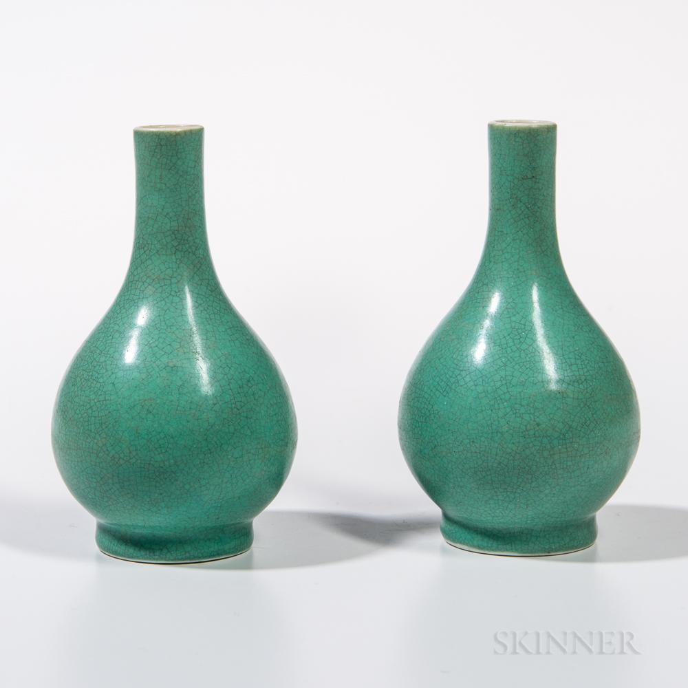 Pair of Small Crackle-glazed Turquoise Blue Bottle Vases