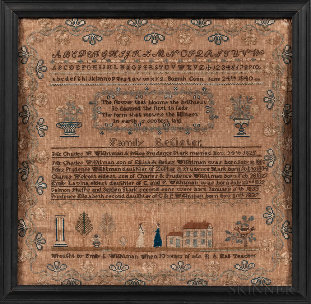 """Emily L. Wightman"" Needlework Sampler and Family Record"