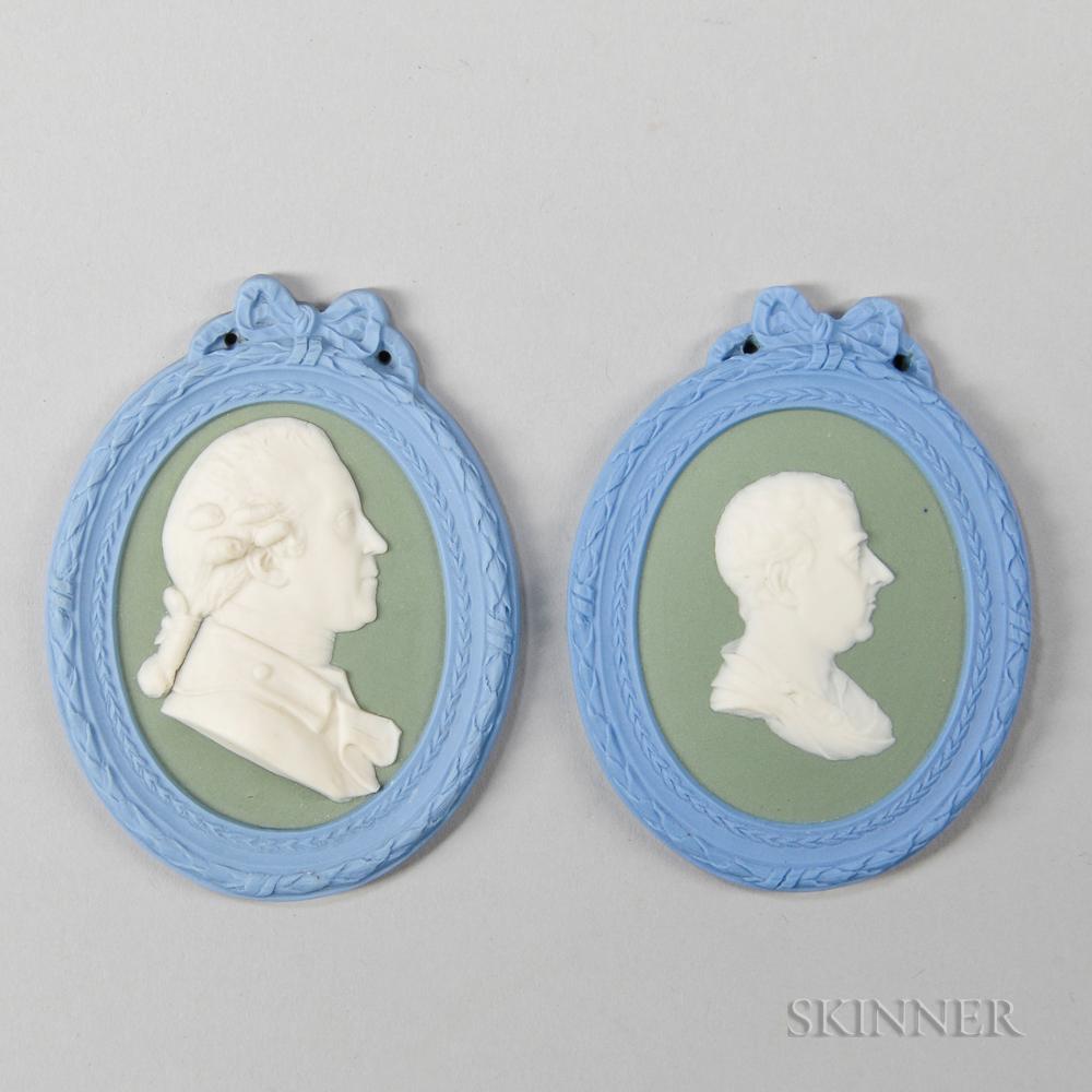 Pair of Wedgwood Tricolor Jasper Self-framed Portrait Medallions