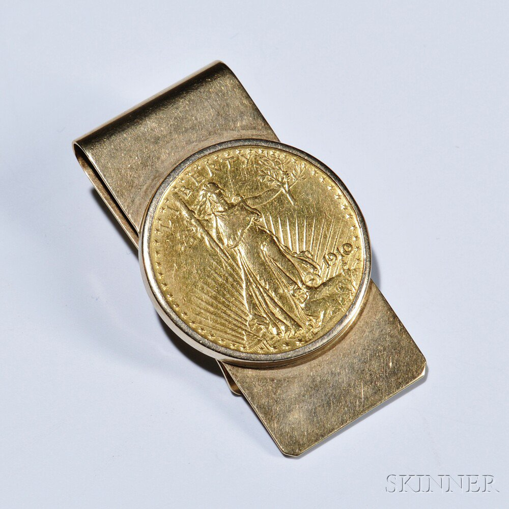 Gold Coin-mounted Money Clip, Tiffany & Co., set with a Saint-Gaudens $20.00 gold coin, 14kt gold mount, 36.9 dwt, signed.