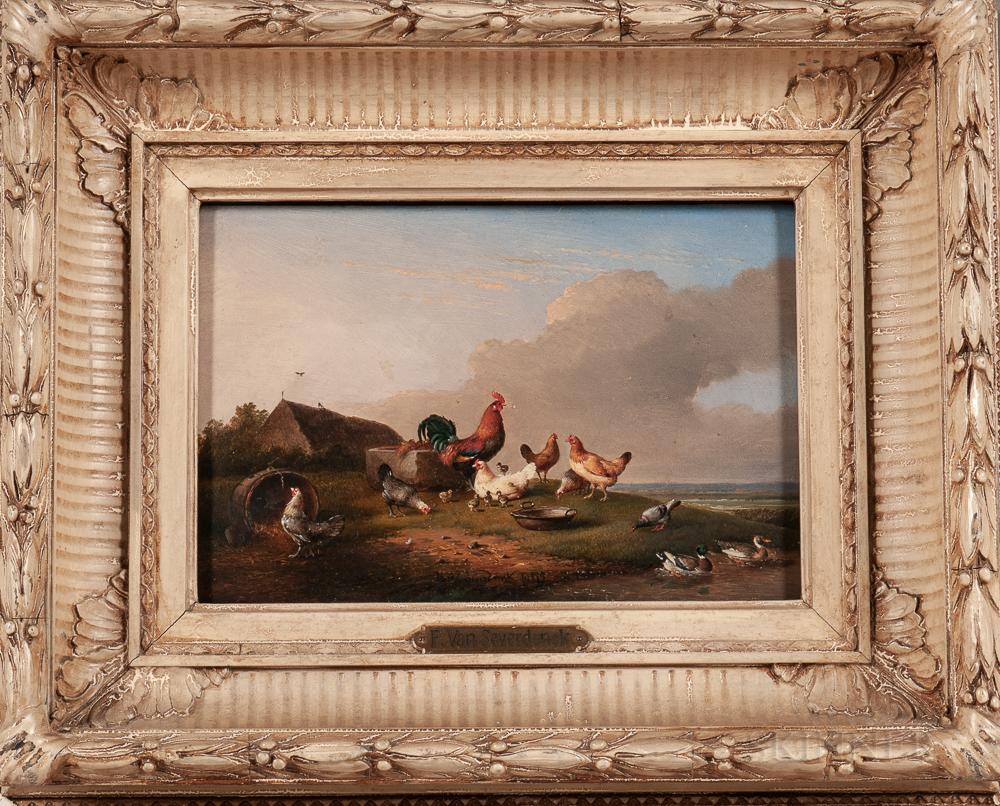 Franz van Severdonck (Belgian, 1809-1889)      Coq, Poules, Canards