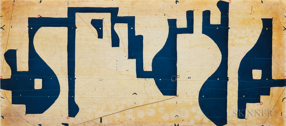 Caio Fonseca (American, b. 1959)      Seven String Etching with Blue and White
