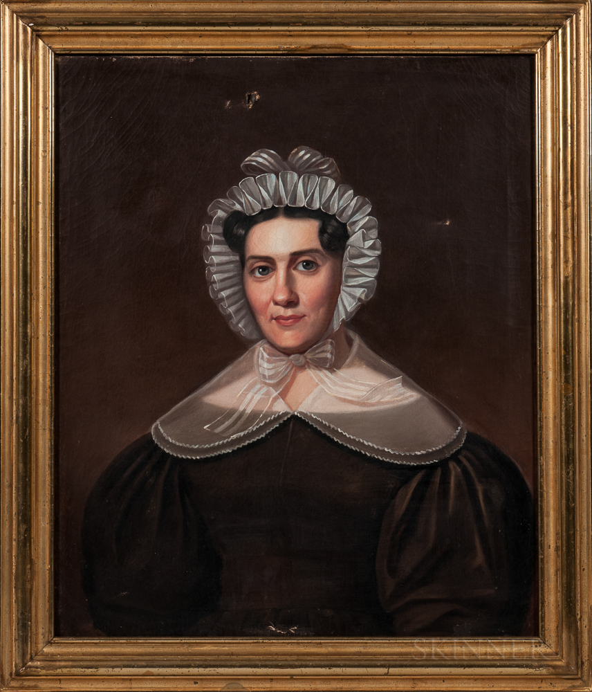 American School, Mid-19th Century, Portrait of Mary Worth Olden, Unsigned, sitter identified on the back., Condition: Four repaired pun