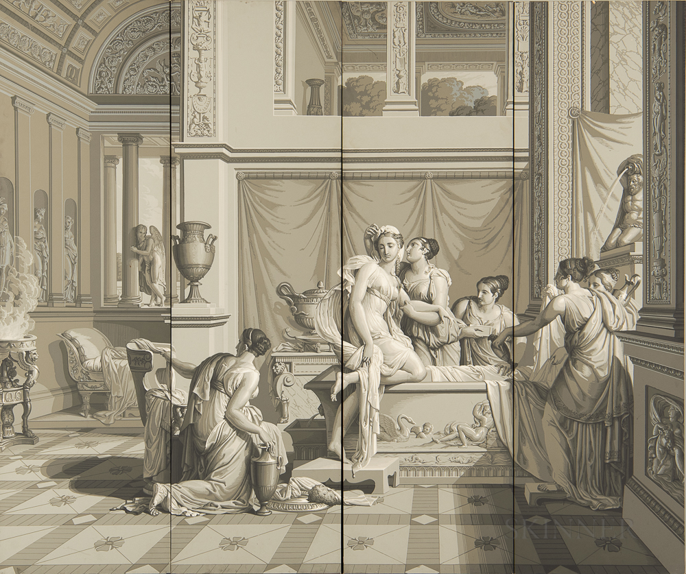 Four Grisaille Wallpaper Panels Attributed to Joseph Dufour