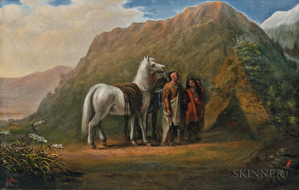 Attributed to Alfred Jacob Miller (American, 1810-1874)      Indian Encampment