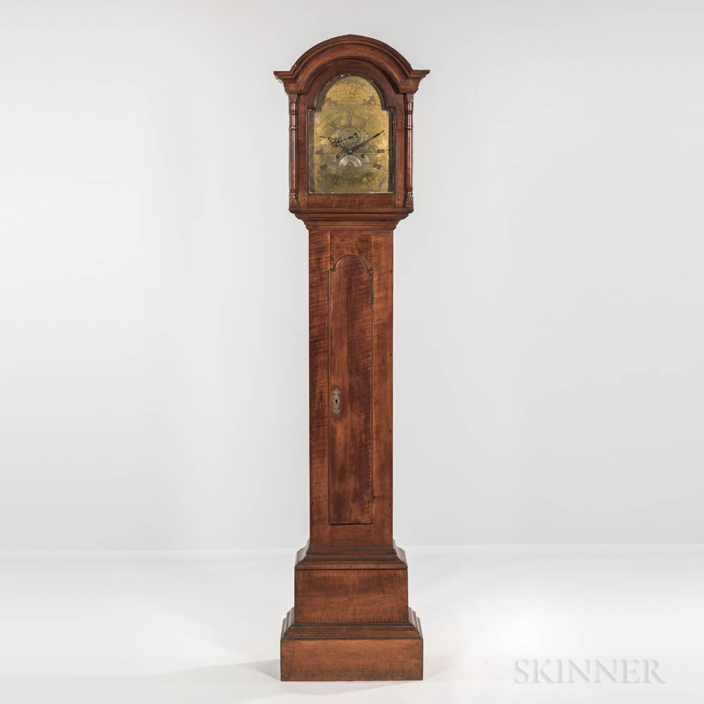 Rare Tiger Maple Tall Case Clock with Elaborately Engraved Brass Dial