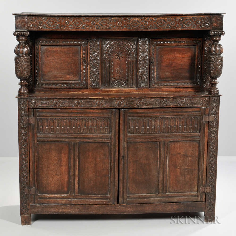 English Carved Oak Court Cupboard