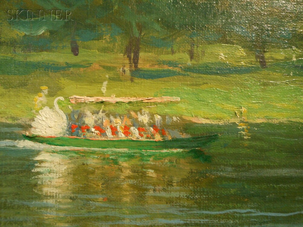William Worcester Churchill (American, 1858-1926)      Swan Boats on Lake, Public Garden