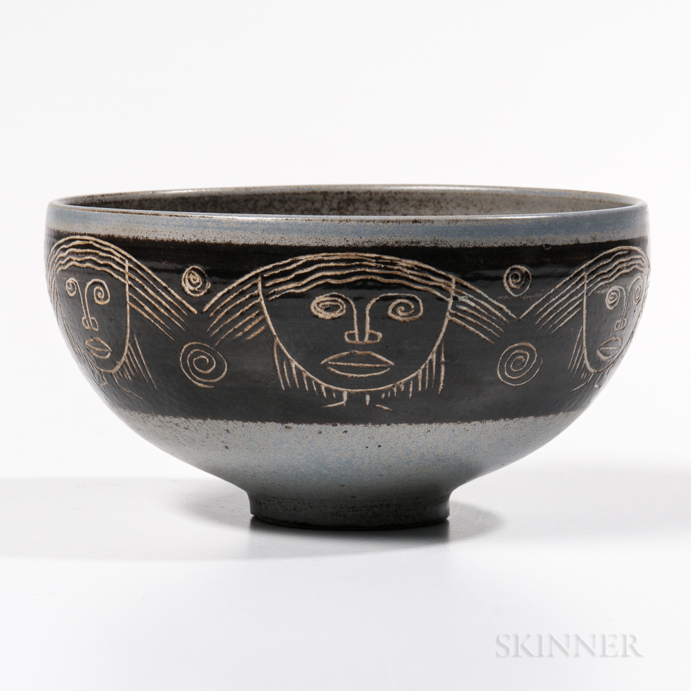 Mary and Edwin Scheier Studio Pottery Face Bowl