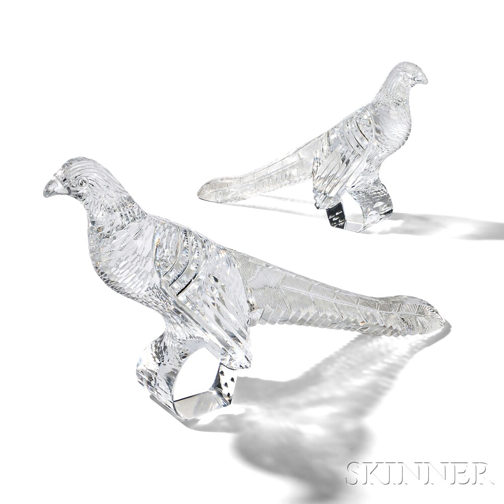 Steuben Cut Glass Pheasants Designed by Frederick Carder