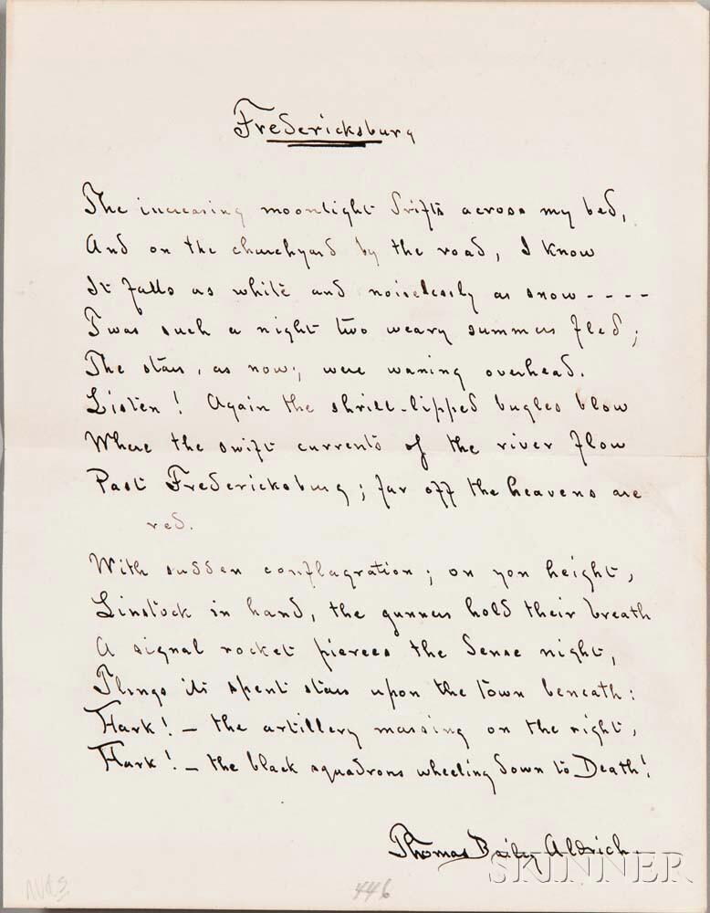 Aldrich, Thomas Bailey (1836-1907) Autograph Fair Copy of the Poem, Fredericksburg.