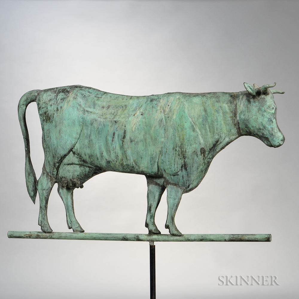 Large Molded Sheet Copper Cow Weathervane
