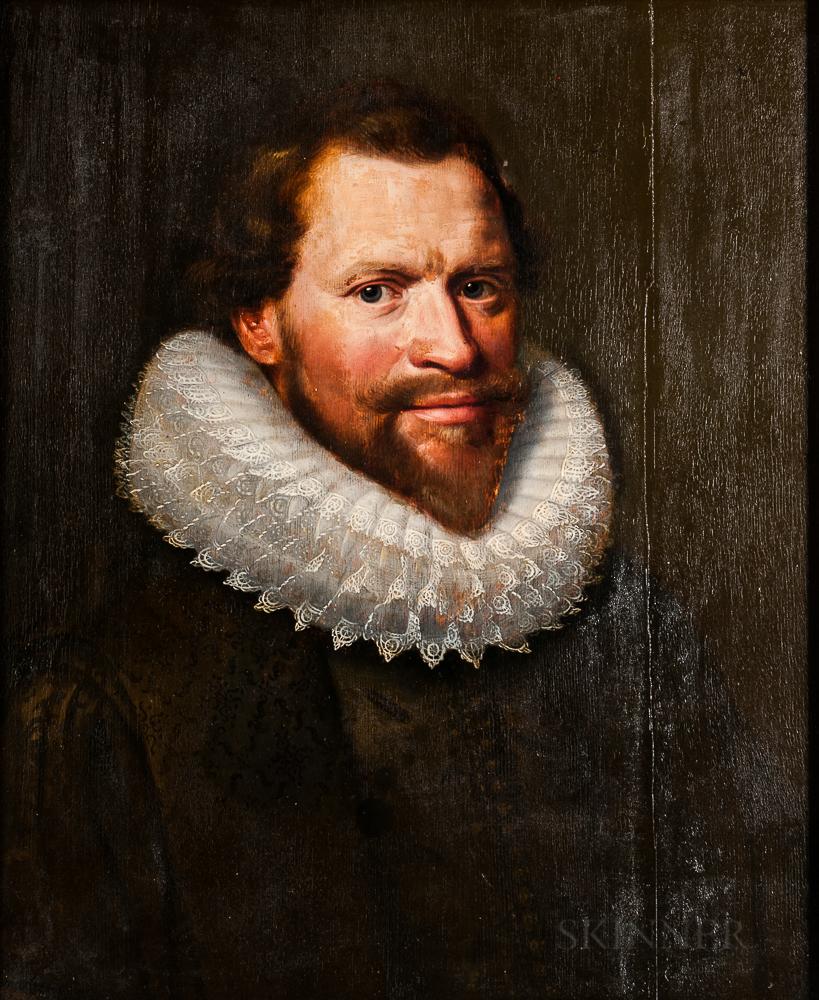 School of Jan Anthonisz van Ravesteyn (Dutch, c. 1570-1657), Portrait of a Gentleman, Head and Shoulders, Wearing a Black Shirt and Whi