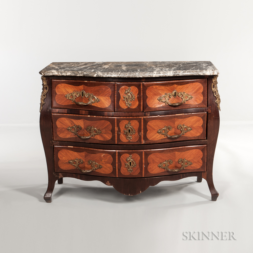 Louis XV-style Marble-top Ormolu-mounted Tulipwood and Mahogany-veneered Commode