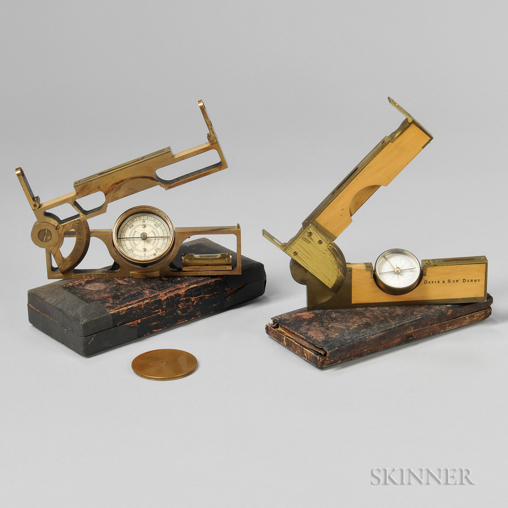 Two Davis & Son Universal Surveyor's Rules or Inclinometers