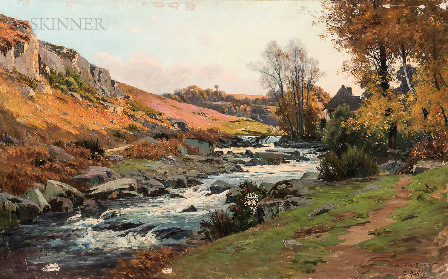 Charles A. Hallé (French, 19th Century)      Country Landscape with Stream