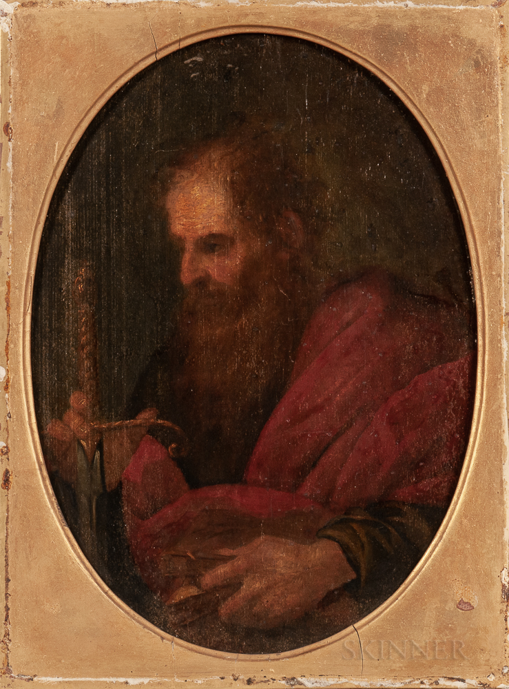 Manner of Giuseppe Vermiglio (Italian, 1585-1635)      St. Paul Holding a Book and Sword