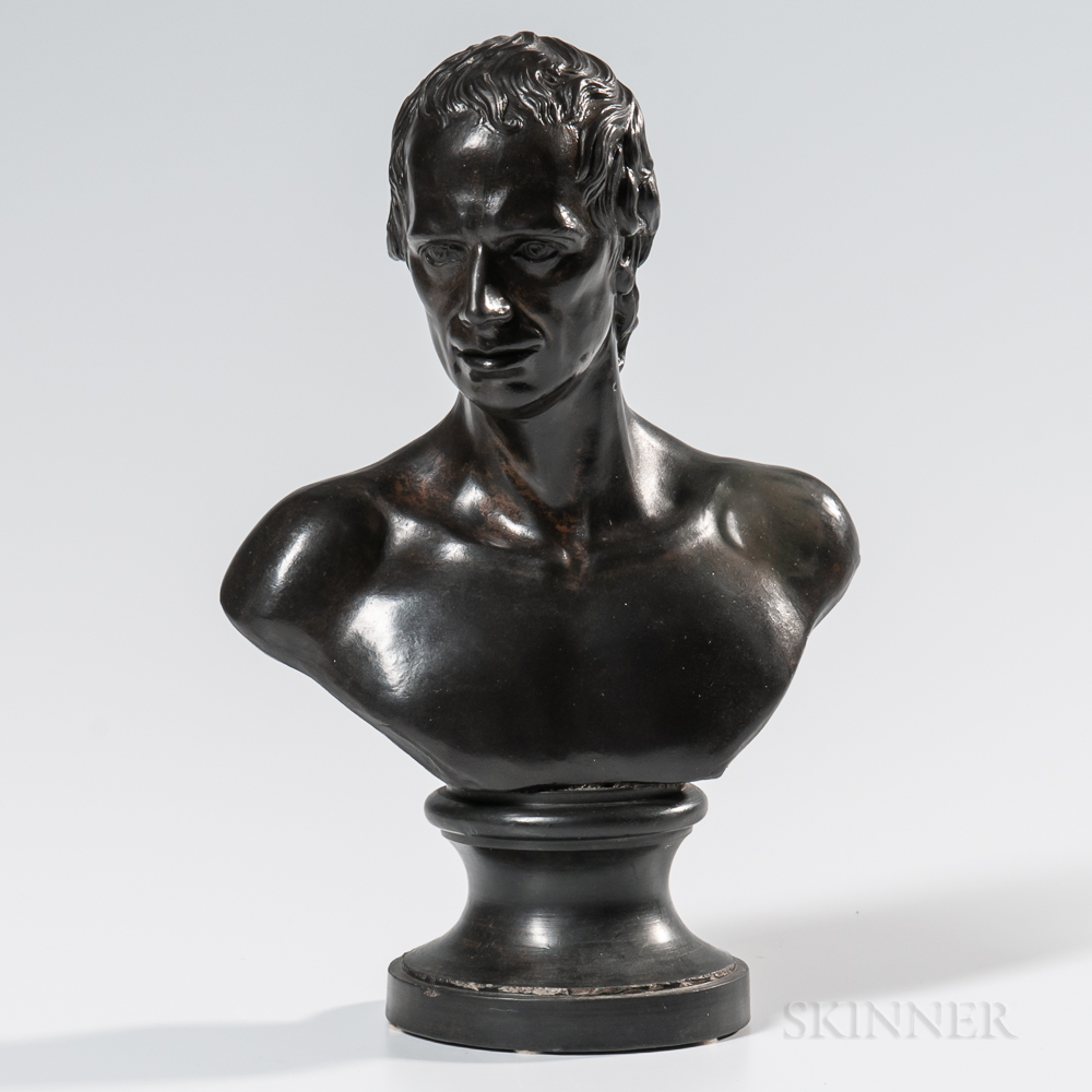 Wedgwood & Bentley Black Basalt Bust of Sterne