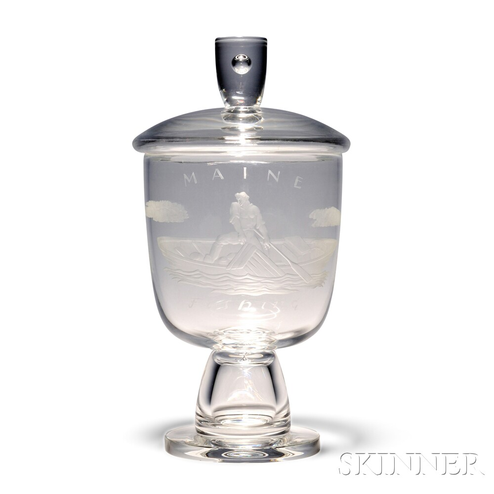 Steuben State of Maine Covered Urn Designed by Sidney Waugh