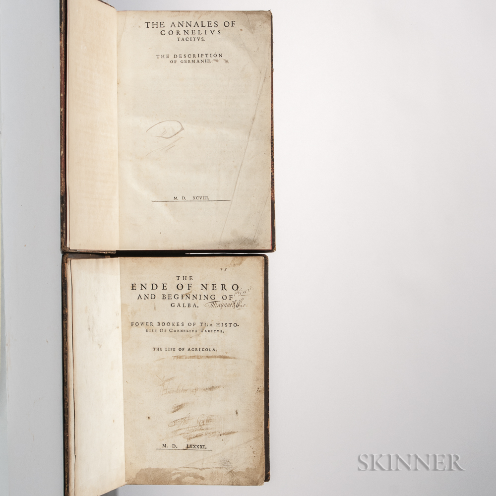 Tacitus (56-120 AD) Two 16th Century English Editions, 1591 and 1598.