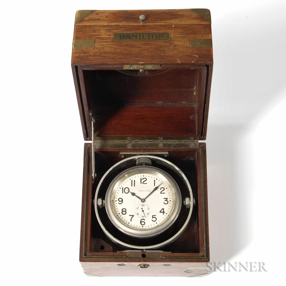 """Hamilton Model """"2992B"""" Sample 38 Boxed Chronometer"""