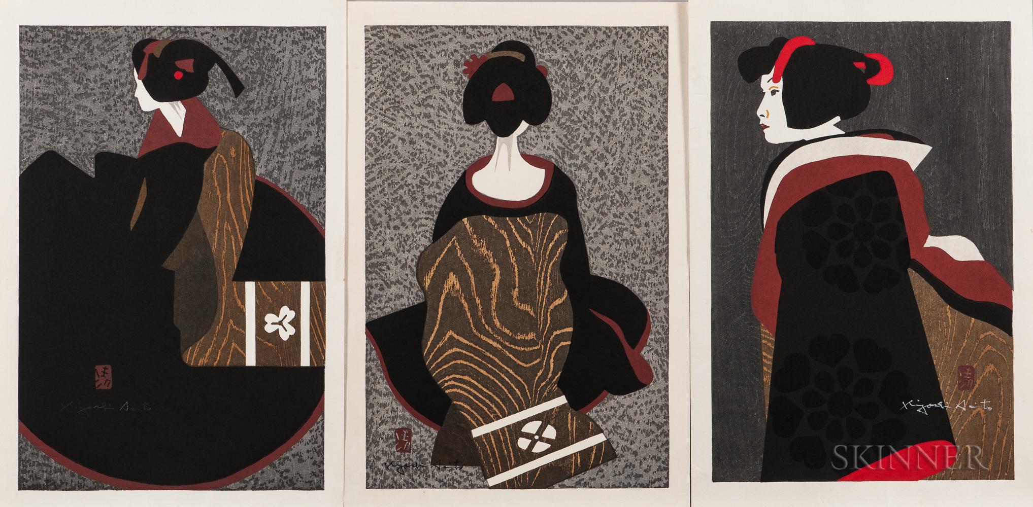 Kiyoshi Saito (1907-1997), Seven Woodblock Prints