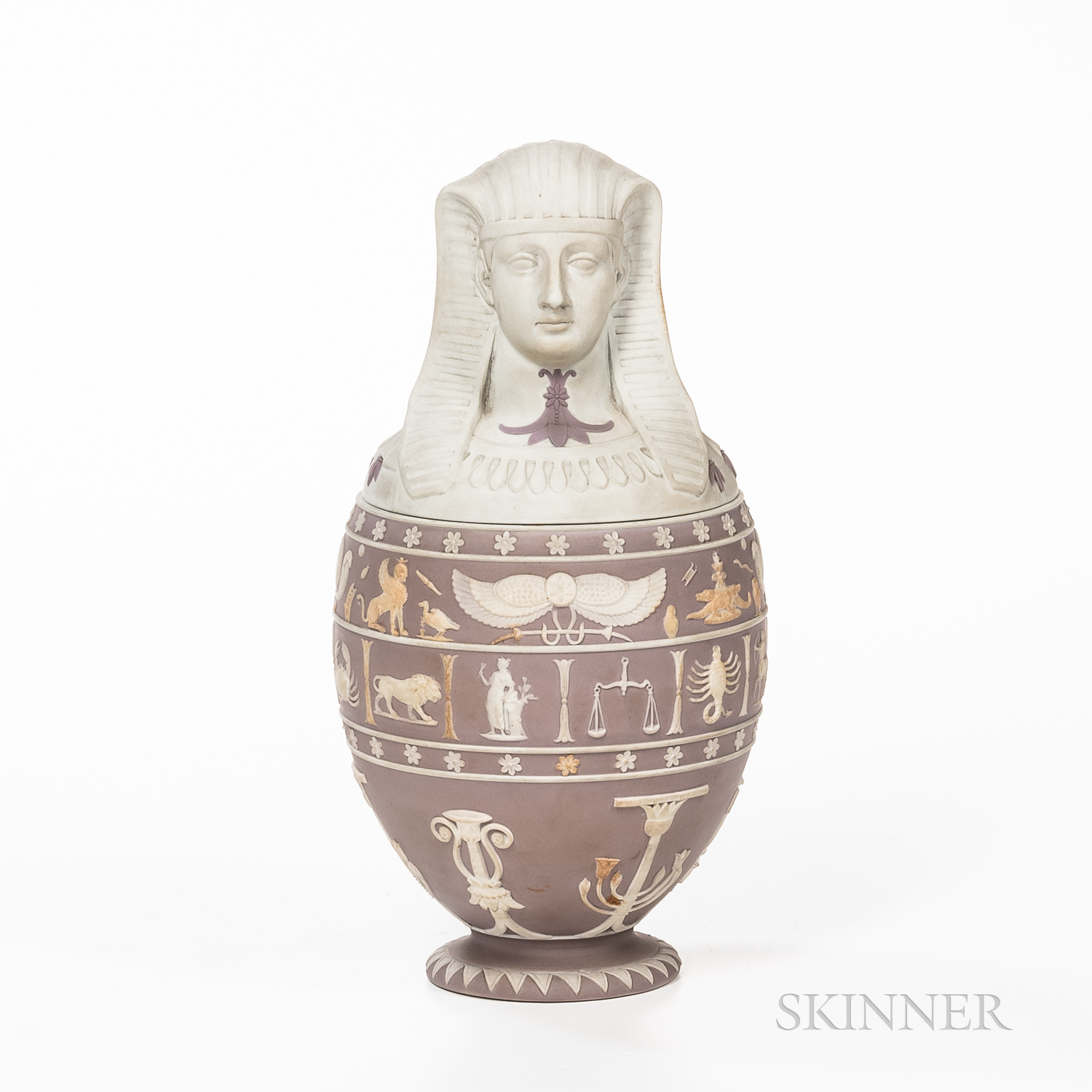 Wedgwood Lilac Jasper Dip Canopic Jar and Cover