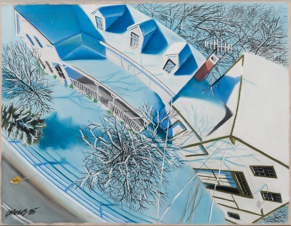 Wade Zahares (American, 20th/21st Century)      Two Pastels: Winter Roofs