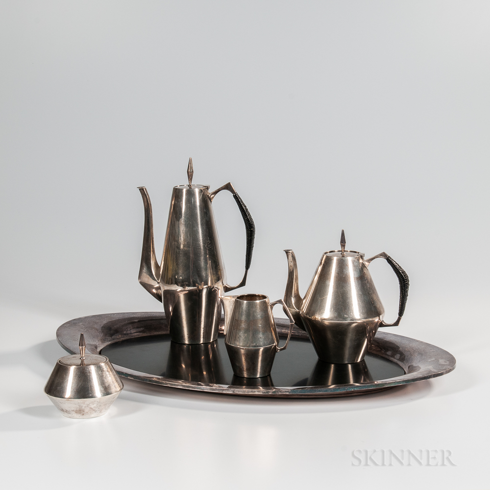 """Four-piece Reed & Barton """"Diamond"""" Pattern Sterling Silver Tea and Coffee Service"""