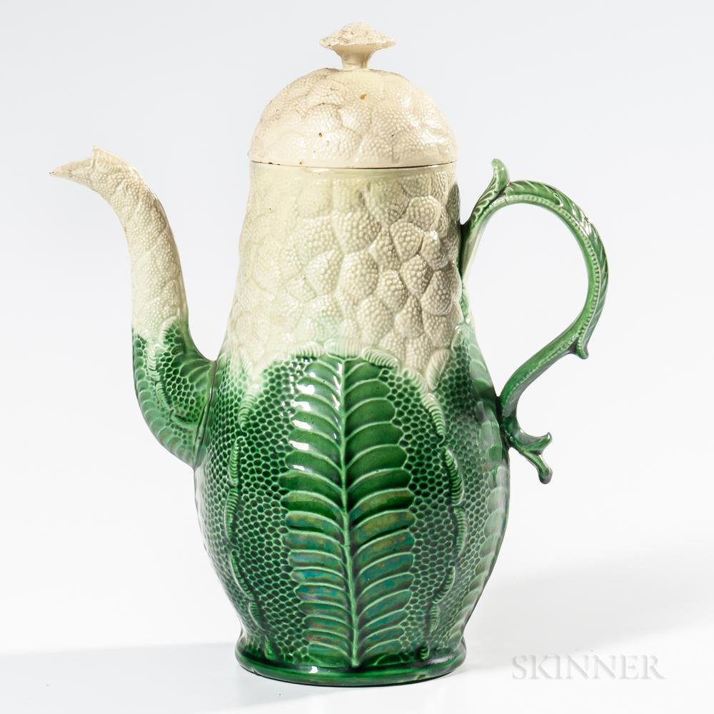Staffordshire Creamware Cauliflower Coffeepot and Cover