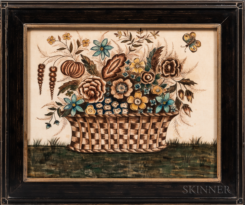 Watercolor on Velvet Theorem with a Basket of Fruit and Butterfly