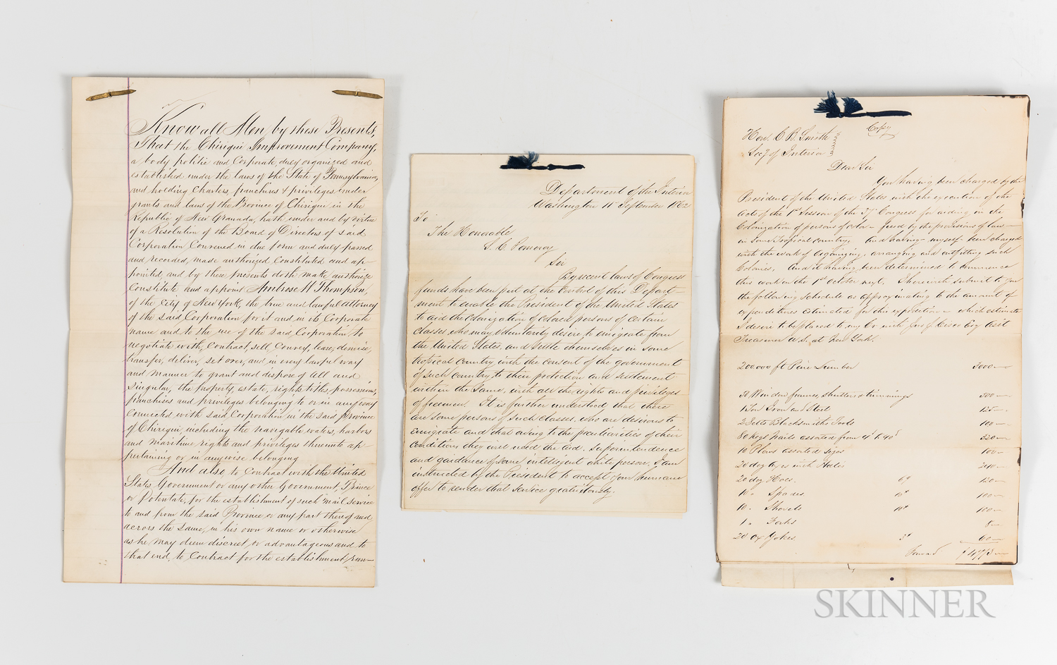 Archive of Documents Concerning the Chiriqui Colonization Project of 1862 and Related Senator Samuel Clark Pomeroy Papers.