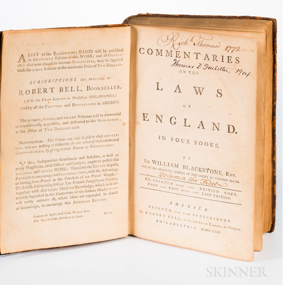 Blackstone, William (1723-1780) Commentaries on the Laws of England.