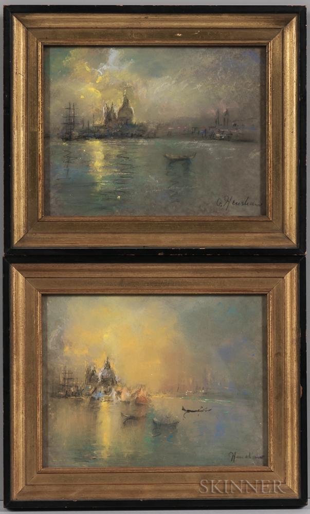 Glenn (Glen) Cooper Henshaw (American, 1880-1946)      Two Venetian Harbor Views: Sunset