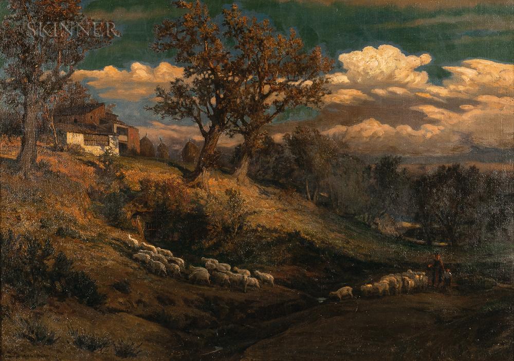 Elihu Vedder (American, 1836-1923)      Hillside with Sheep, Perugia