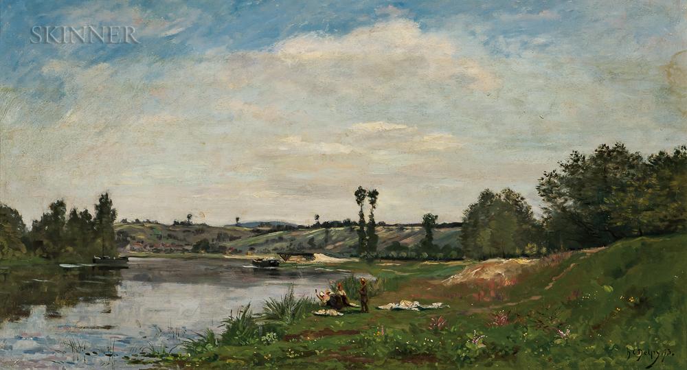 Hippolyte Camille Delpy (French, 1842-1910)      Lavandières au bord de la Seine