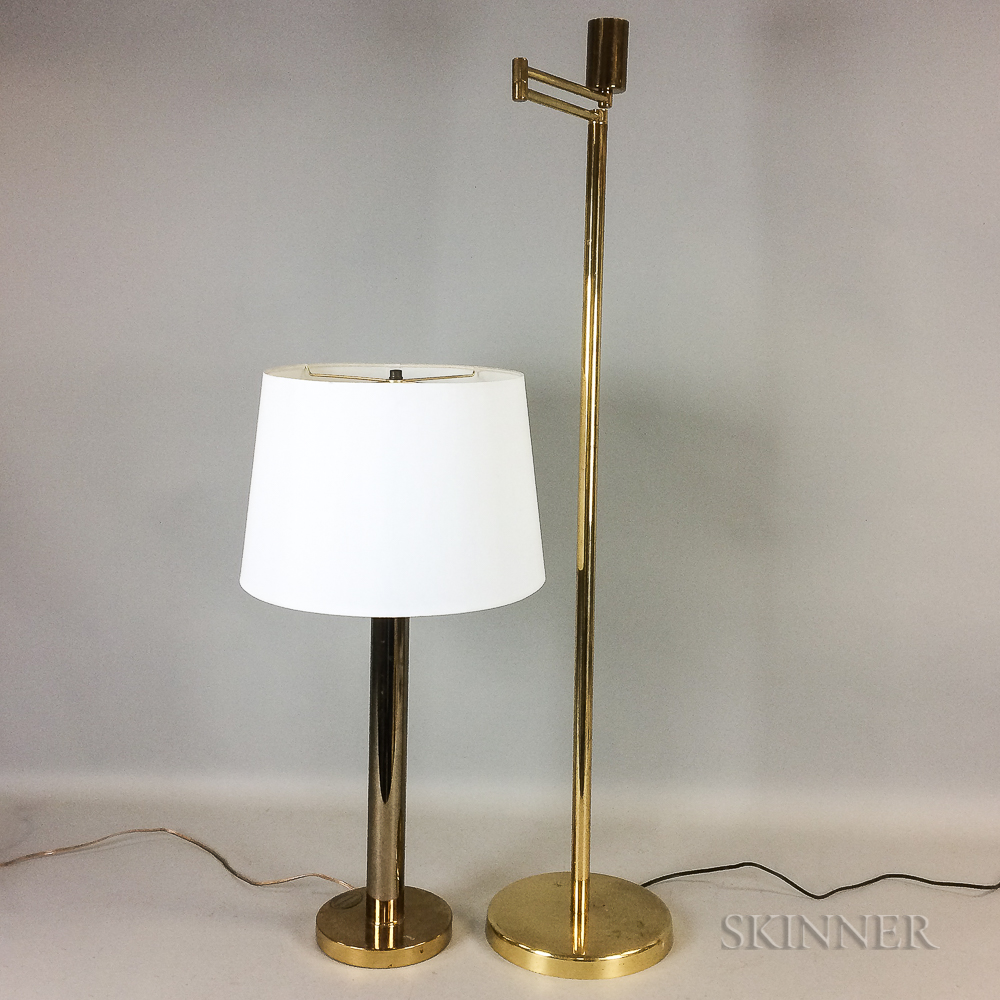 Brass Swing-arm Floor Lamp and a Brass Scandinavian Gallery Table Lamp